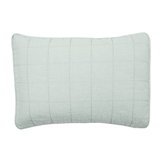 Set of 2 Simple Linen Quilted Shams, Sage