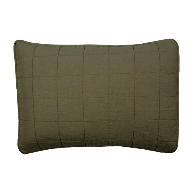 Set of 2 Simple Linen Quilted Shams, Olive