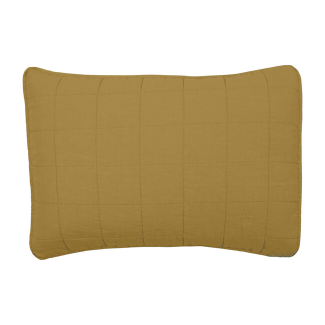Set of 2 Simple Linen Quilted Shams, Mustard
