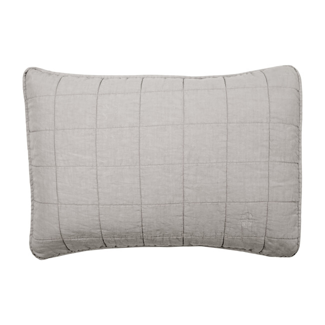 Set of 2 Simple Linen Quilted Shams, Light Grey
