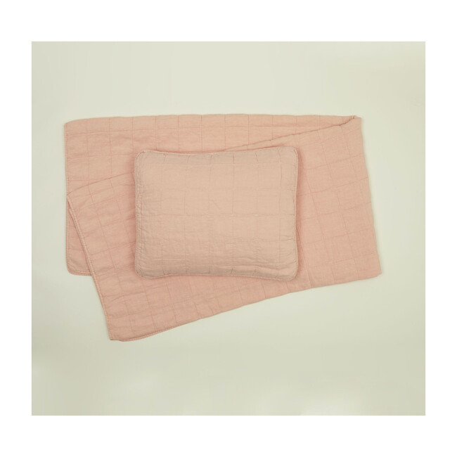 Set of 2 Simple Linen Quilted Shams, Blush