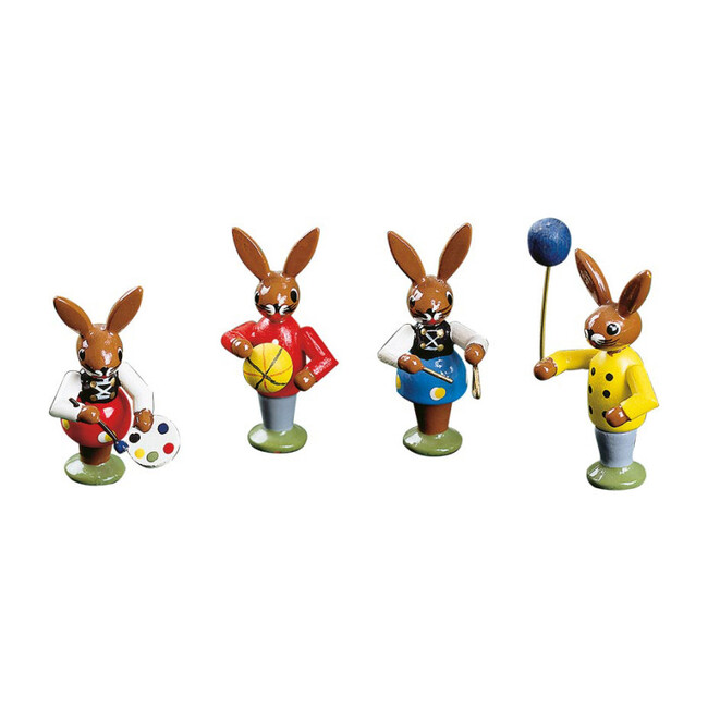 Bunny Children Playing, Set of 4