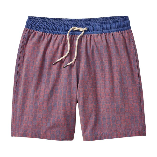 Men's Bayberry Swim Trunk, Red Waves