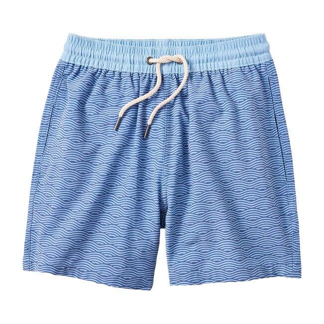 Kid's Bayberry Swim Trunk, Blue Waves - Swim Trunks - 1