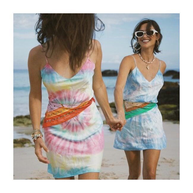Women's Tie Dye Slip Mini Dress, Neon