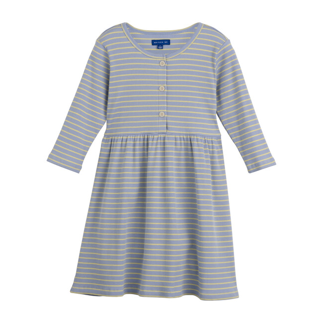 Miya Ribbed Dress, Blue & Yellow Stripe - Dresses - 1