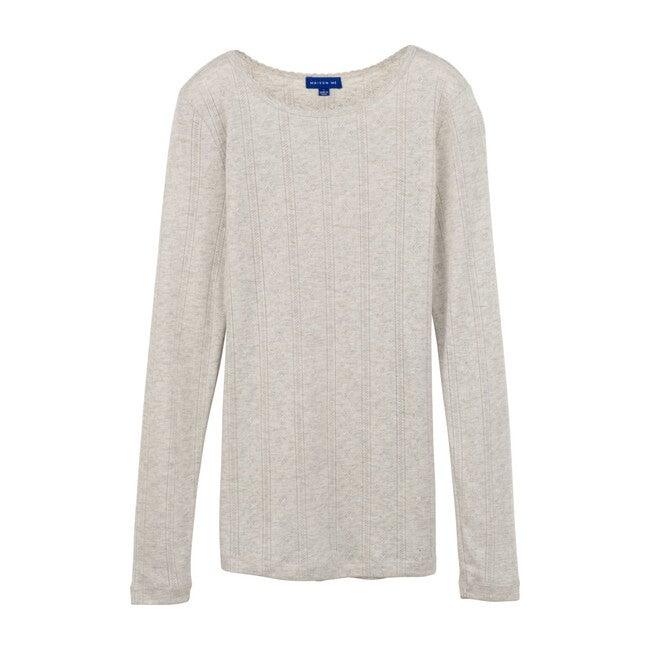 Mimi Women's Pointelle Long Sleeve Shirt, Light Heather Grey