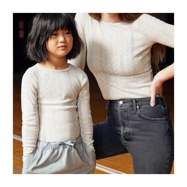 Mimi Women's Pointelle Long Sleeve Shirt, Sage