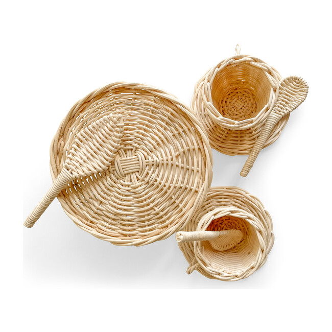 Rattan Tea and Cake Party Set, Natural