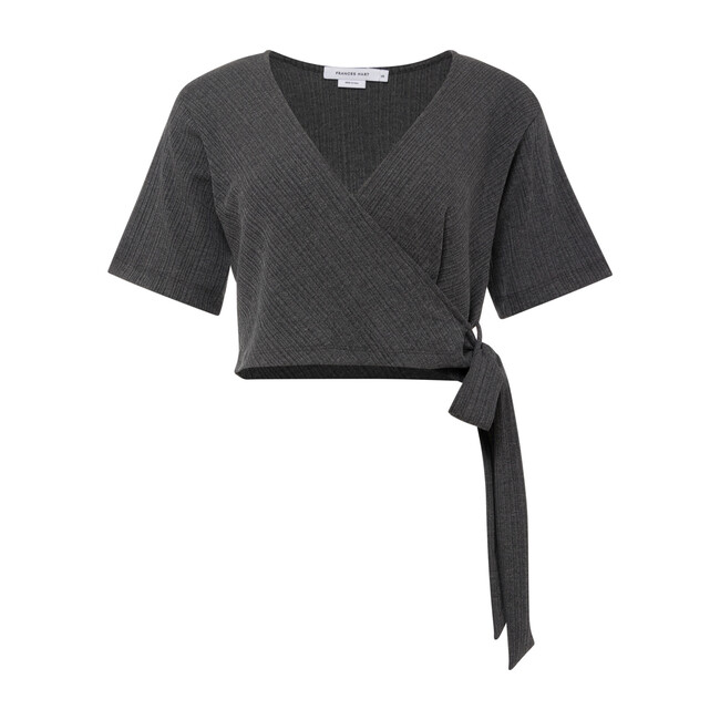 Women's Ribbed Wrap Top, Charcoal