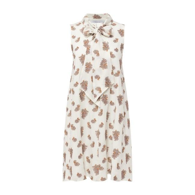 Women's Tie Neck A-Line Dress, Alabaster
