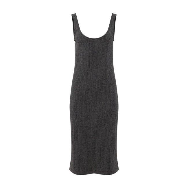 Women's Ribbed Knit Tank Dress, Charcoal