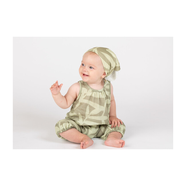 Baby Racerback One Piece, Olive Palm Leaves