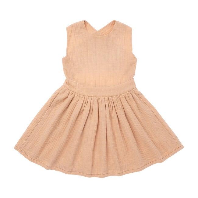 Pinafore Gauze Dress, Peach