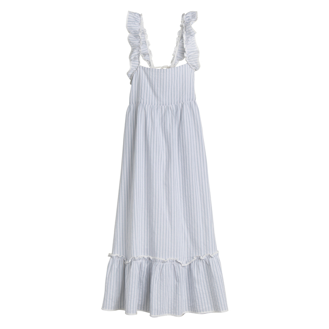 Mara Women's Ruffle Tie Back Dress, Light Blue Stripe