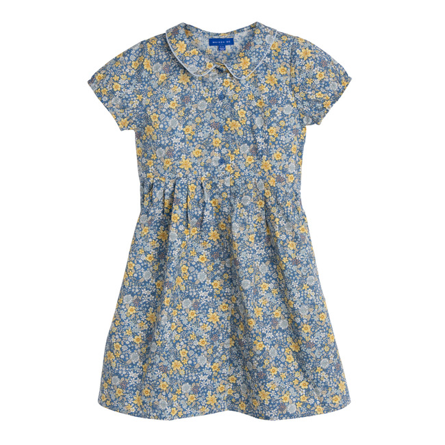 Emmalyn Short Sleeve Collared Dress, Blue Yellow Floral