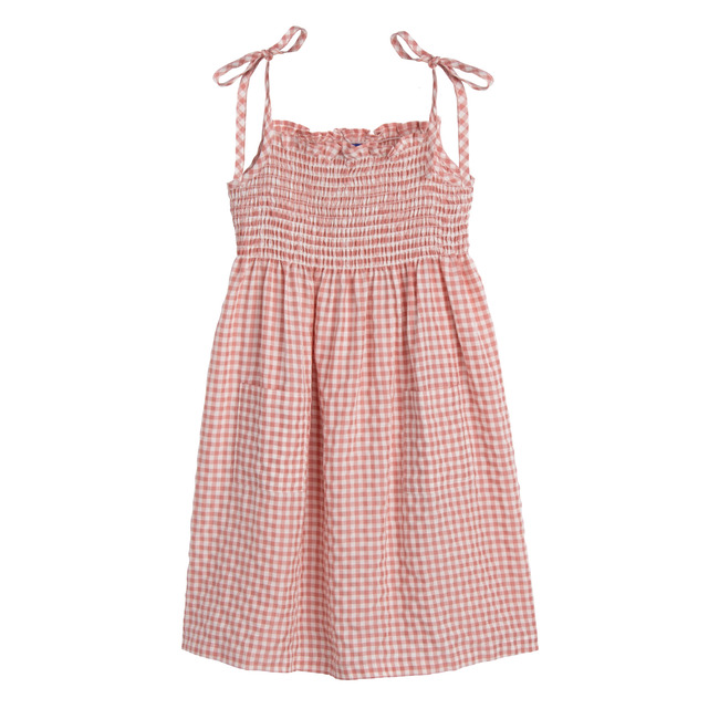 Rosie Smocked Dress, Dusty Rose Check