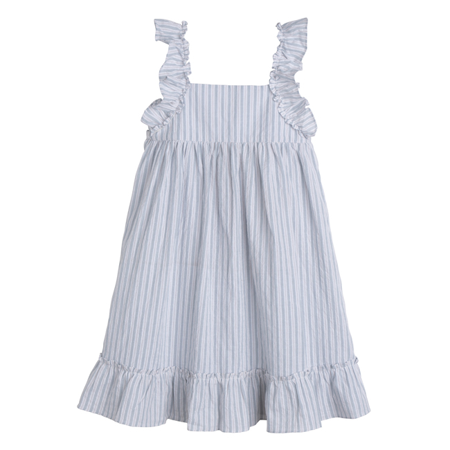 Mila Ruffle Tie Back Dress, Light Blue Stripe