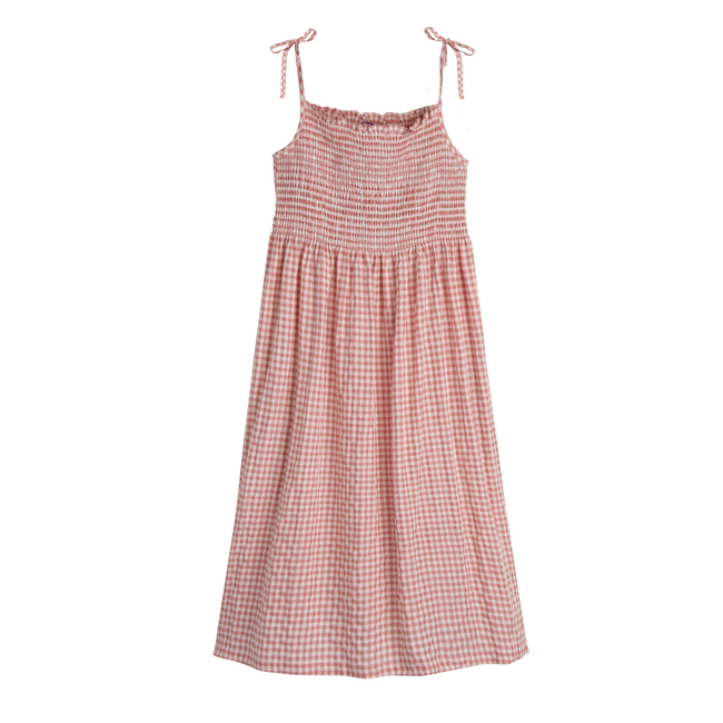 Rosalie Women's Smocked Dress, Dusty Rose Check