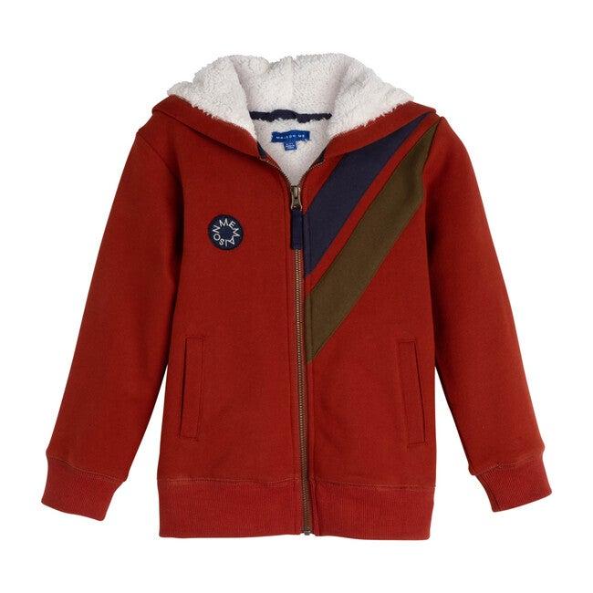 Benji Double Stripe Sherpa Hoodie, Brick - Sweatshirts - 1