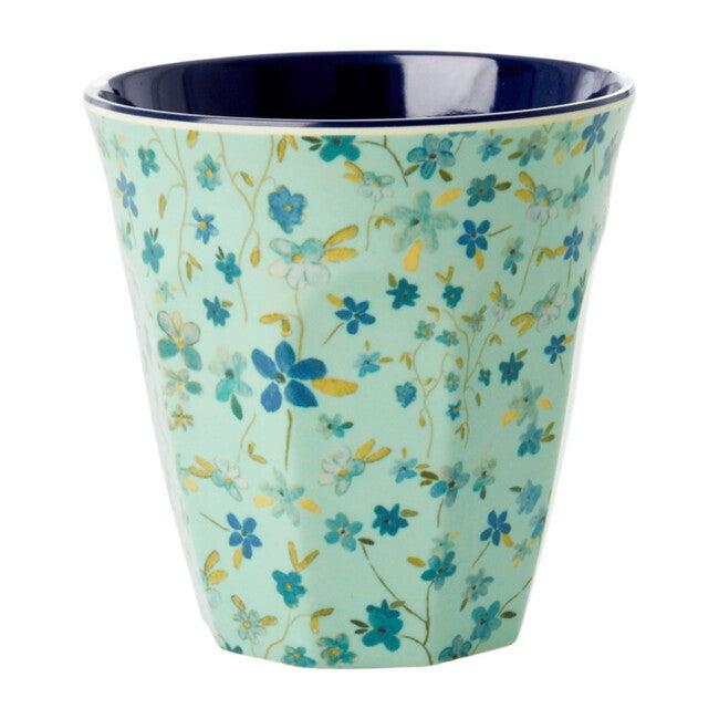 Set of 2 Medium Melamine Cups, Blue Floral