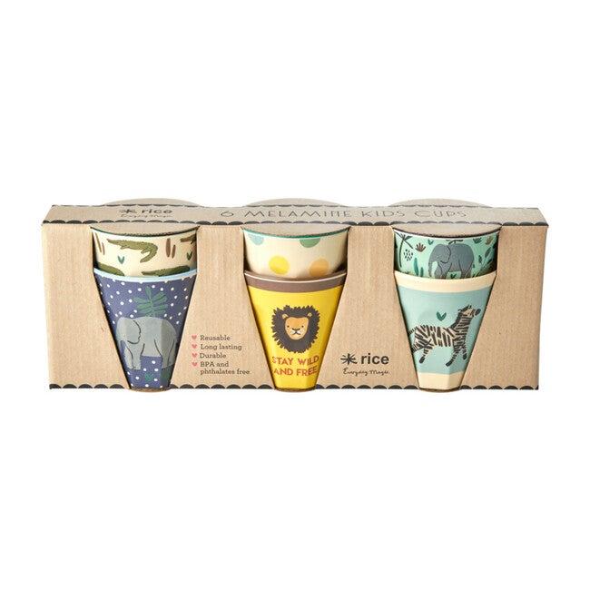 Set of 6 Small Melamine Kids Cups, Blue Jungle