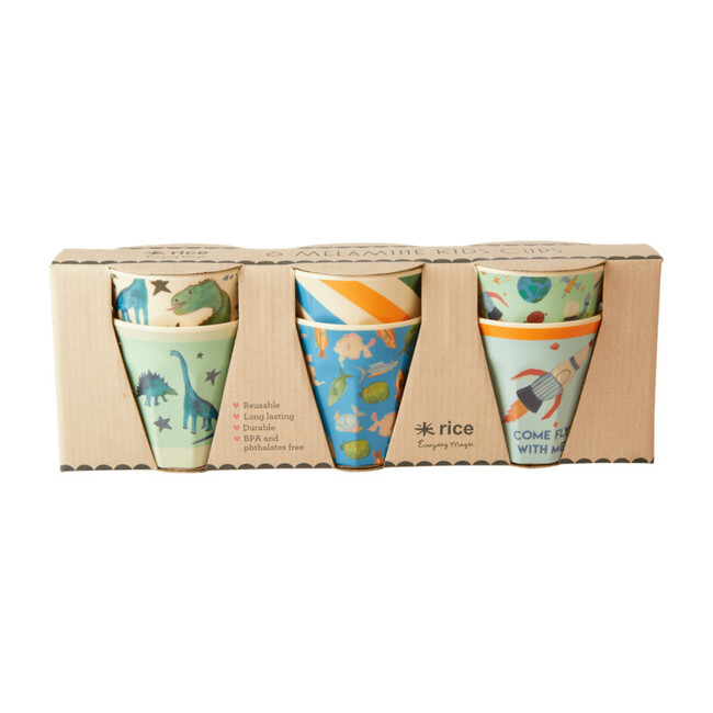 Gift Set of 6 Small Melamine Kids Cups, Dino