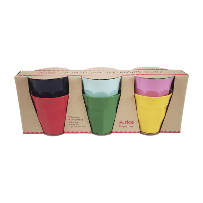 Gift Set of 6 Small Melamine Cups, Favorite Colors