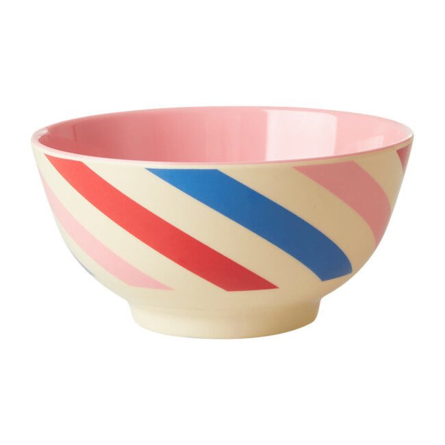 Medium Melamine Bowl, Candy Stripes