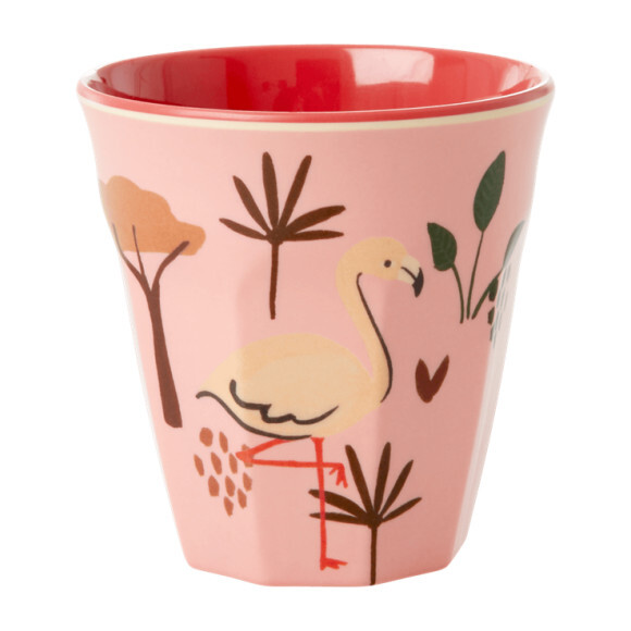 Set of 2 Small Melamine Kids Cup, Pink Jungle