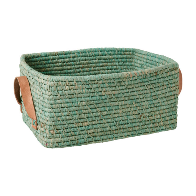 Raffia Rectangular Basket, Mint