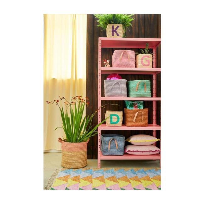 Raffia Square Basket, Soft Pink
