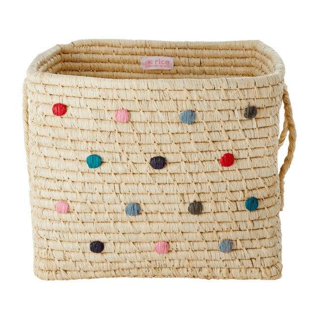 Raffia Square Basket, Dots