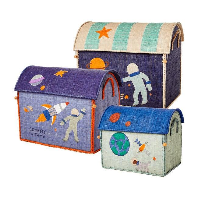 Set of 3 Raffia Storage Baskets, Space