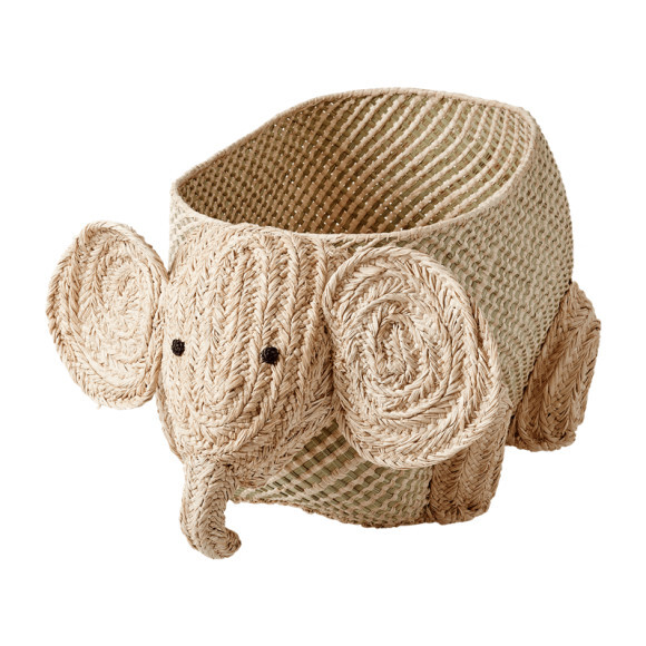 Elephant Seagrass and Raffia Storage Basket, Natural