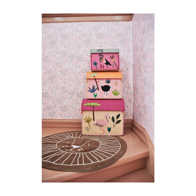 Set of 3 Raffia Storage Baskets, Pink Jungle