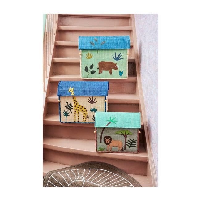 Set of 3 Raffia Storage Baskets, Blue/Green Jungle