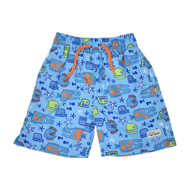 UPF 50 Wesley Swim Trunks with Mesh Liner, Something's Fishy