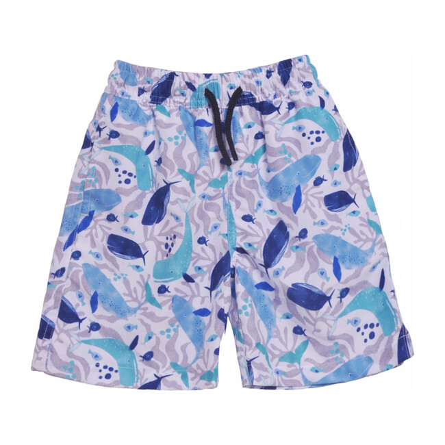 UPF 50 Surf Swim Trunks with Mesh Liner, Whales Tales