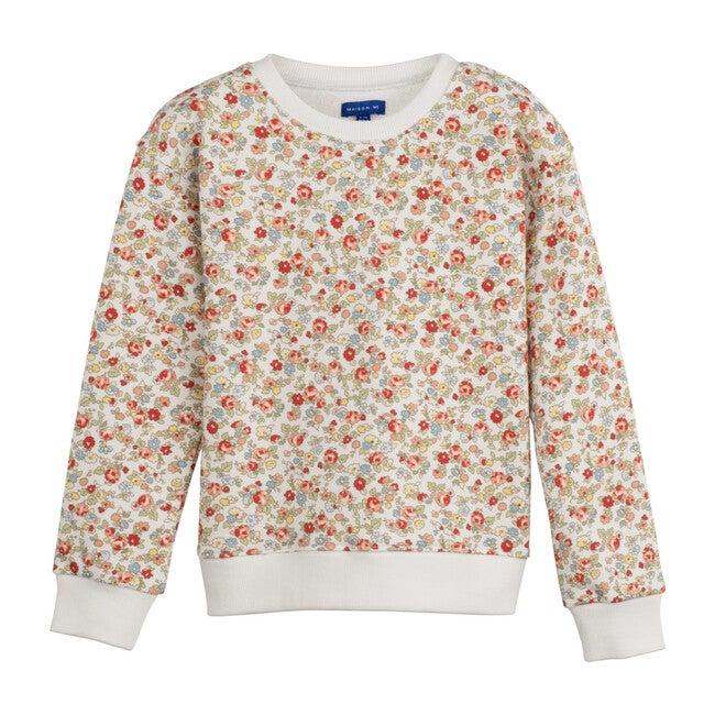 Printed Floral Sweatshirt, White Multi