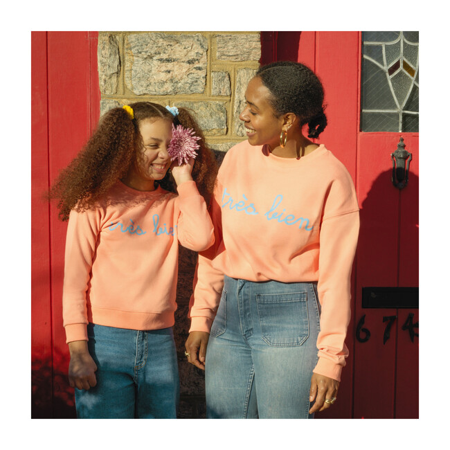 Tres Bien Adult Sweatshirt, Vibrant Peach
