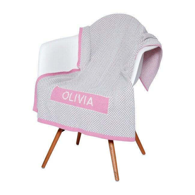 Monogrammed Herringbone Baby Blanket, Pink