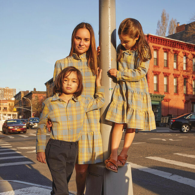 Caroline Women's Dress, Blue Yellow Check