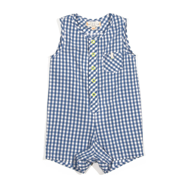 Tanner Romper, Blue Plaid
