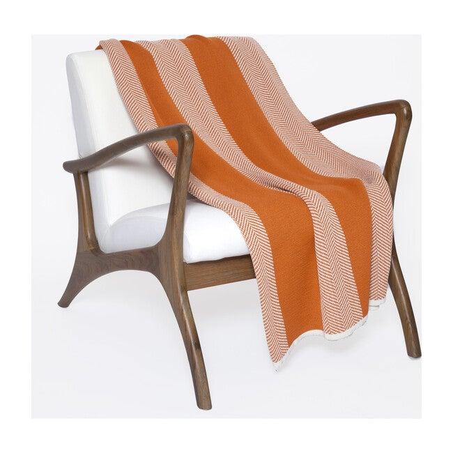 Eco Poly Herringbone Stripe Throw, Orange/White