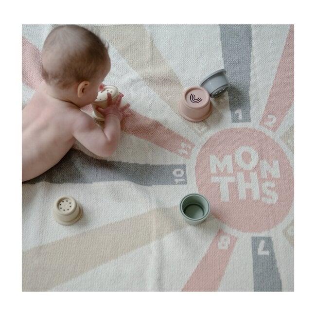 Monogrammed Eco Baby Milestone Throw, Blush/Flax