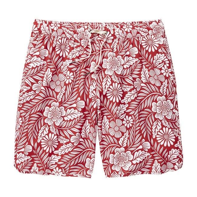 Men's  Anchor Swim Trunk, Red Hawaiian Floral