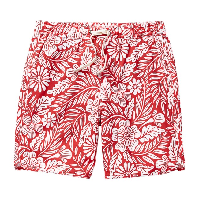 Kid's Anchor Swim Trunk, Red Hawaiian