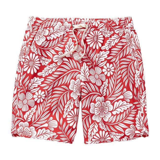 Kid's Anchor Swim Trunk, Red Hawaiian - Swim Trunks - 1