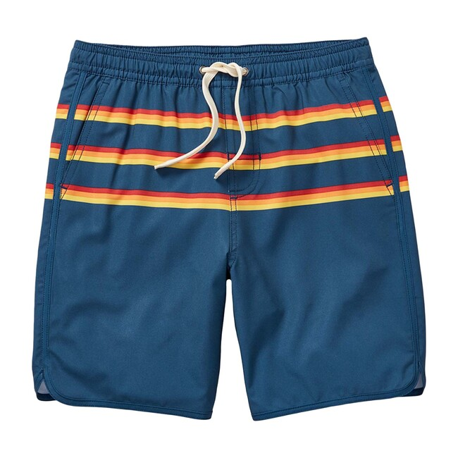 Kid's Anchor Swim Trunk, Rainbow 3 Stripe - Swim Trunks - 1